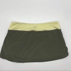 LULULEMON | Khaki Green & Lt Yellow Tennis skirt